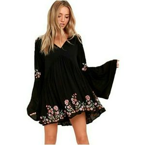 Free People | Black Embroiderd Bell Sleeve Dress